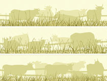 吃草农厂宠物的水平的例证 库存图片