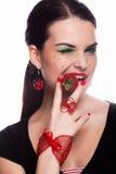我喜欢草莓 免版税图库摄影