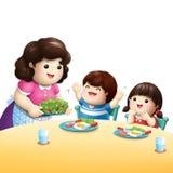 吃菜的孩子爱 免版税库存图片