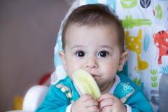 吃菜的婴孩 在一张高脚椅子 长牙齿,黄瓜,食物的概念,哺养 新出生的家 健康 第一 库存照片