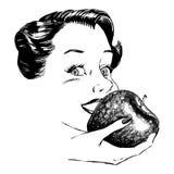 吃葡萄酒妇女的20世纪50年代苹果 库存图片