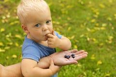 吃蓝莓的逗人喜爱的一个年小孩 喂养她的儿子用蓝莓的母亲 免版税库存照片
