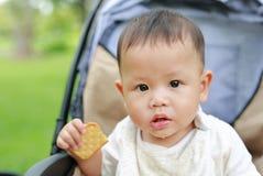 吃薄脆饼干饼干的特写镜头婴儿男婴坐婴儿推车在自然公园 免版税图库摄影