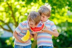 吃西瓜的两个小学龄前孩子男孩在夏天 库存照片