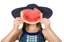 吃西瓜的妇女隔绝在白色 免版税库存图片
