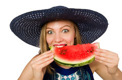 吃西瓜的妇女隔绝在白色 图库摄影