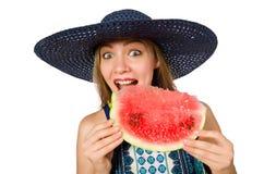 吃西瓜的妇女隔绝在白色 库存图片