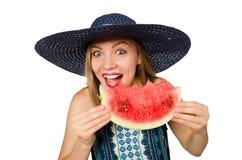 吃西瓜的妇女隔绝在白色 免版税库存照片