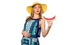 吃西瓜的妇女隔绝在白色 库存照片