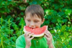 吃西瓜的小男孩在夏天 库存图片