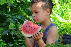 吃西瓜的愉快的逗人喜爱的孩子在庭院里 库存照片