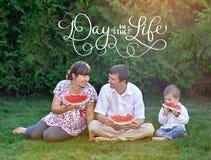 吃西瓜的父亲、母亲和儿子坐草和文本天在生活中 书法字法葡萄酒 库存照片