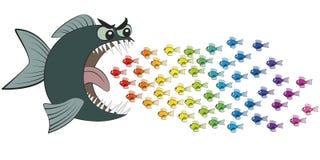 吃许多小五颜六色的鱼的大鱼可笑 向量例证