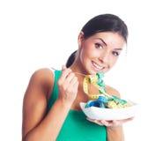 吃评定的磁带妇女 库存照片