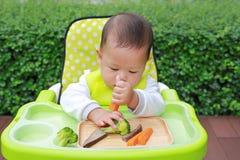 吃通过婴孩被带领的断绝BLW的亚裔婴儿男婴 手抓食物概念 免版税库存图片