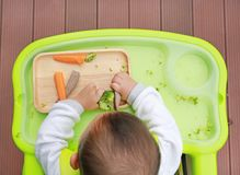 吃通过婴孩被带领的断绝BLW的婴儿婴孩顶视图 手抓食物概念 免版税库存照片