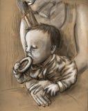 吃酥皮点心的婴孩 库存图片