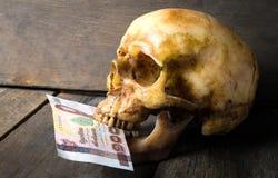 吃钞票的死的头骨 免版税库存图片