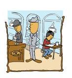 吃饭的客人喝咖啡的咖啡馆先生们读本文 库存图片