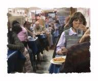 吃饭的客人希腊绘画 库存照片
