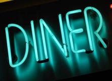 吃饭的客人霓虹灯广告 免版税图库摄影