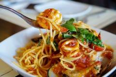 吃spagetti海鲜 库存照片