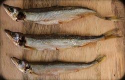 各式各样的鱼,在木背景,顶视图,拷贝空间的盐味的熔炼 库存图片