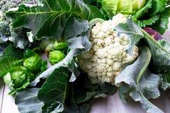 各种各样圆白菜硬花甘蓝花椰菜 分类圆白菜背景 库存图片