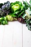 各种各样圆白菜硬花甘蓝花椰菜 分类在白色木背景的圆白菜 平的位置 库存照片