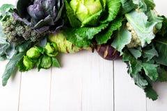 各种各样圆白菜硬花甘蓝花椰菜 分类在白色木背景的圆白菜 平的位置 库存图片