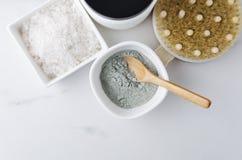 各种各样有香波、凤仙花头发的,黏土面孔的,腌制槽用食盐和身体刷子的瓶 bodycare治疗的概念 图库摄影