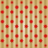 各种各样的不同的红色星在金黄条纹的行抵消了 免版税库存图片