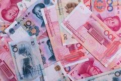 各种各样的中国backnotes背景  免版税库存图片
