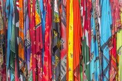 各种各样的五颜六色的织品 库存图片
