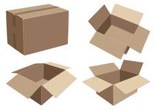 各种各样的产品的包装的纸板箱 库存图片