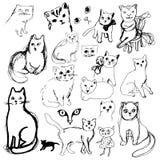 各种各样的传染媒介猫剪影 免版税库存照片