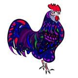 各种各样的元素的公鸡在种族样式的 库存照片