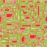 以各种各样的厨房器物为特色和烹调相关对象的无缝的样式 库存照片