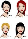 各种各样的发型的蓝眼睛的妇女 免版税库存照片