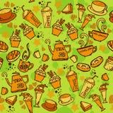 各种各样的咖啡、蛋糕、杯形蛋糕,三明治、曲奇饼、开胃菜和饮料无缝的样式略图排行橙色口气题材和 免版税库存图片