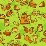 各种各样的咖啡、蛋糕、杯形蛋糕,三明治、曲奇饼、开胃菜和饮料无缝的样式略图排行橙色口气题材和 免版税图库摄影