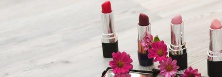 各种各样的唇膏的汇集时尚化妆用品的与粉末 在一个空白背景的唇膏 编目的背景 库存照片