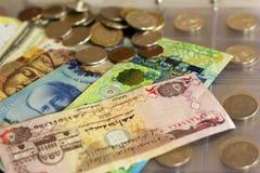 各种各样的国家很多纸票据和硬币货币册页的 图库摄影