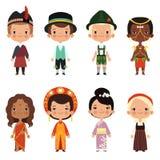 各种各样的国籍愉快的孩子  向量例证