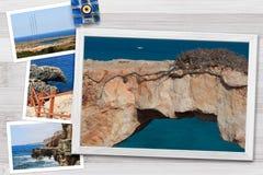 各种各样的塞浦路斯的美好的快照在土气背景安排的木制框架环境美化,与拷贝空间 免版税库存图片