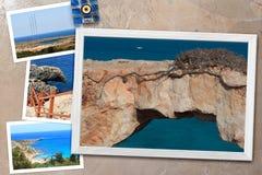 各种各样的塞浦路斯的美好的快照在土气背景安排的木制框架环境美化,与拷贝空间 库存照片