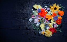 各种各样的庭院纹理开花,顶视图 库存图片