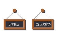 各种各样的开放和闭合的企业标志映象集在白垩写的板岩板的 库存例证