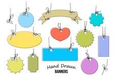 各种各样的形状套11个五颜六色的手拉的标签和横幅  向量 向量例证