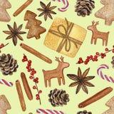 各种各样的新年和圣诞节装饰元素-水彩手拉的例证的无缝的样式 库存例证
